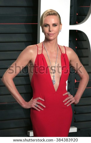 BEVERLY HILLS - FEB 28: Charlize Theron at the 2016 Vanity Fair Oscar Party on February 28, 2016 in Beverly Hills, California - stock photo