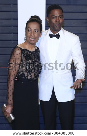 BEVERLY HILLS - FEB 28: Chris Rock, Rosalie Rock at the 2016 Vanity Fair Oscar Party on February 28, 2016 in Beverly Hills, California - stock photo