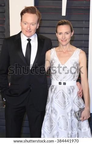 BEVERLY HILLS - FEB 28: Conan O'Brien, Liza Powel at the 2016 Vanity Fair Oscar Party on February 28, 2016 in Beverly Hills, California - stock photo