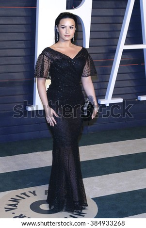 BEVERLY HILLS - FEB 28: Demi Lovato at the 2016 Vanity Fair Oscar Party on February 28, 2016 in Beverly Hills, California - stock photo
