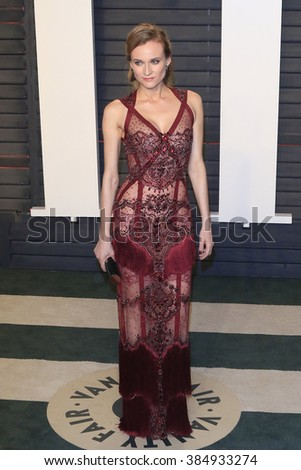 BEVERLY HILLS - FEB 28: Diane Kruger at the 2016 Vanity Fair Oscar Party on February 28, 2016 in Beverly Hills, California