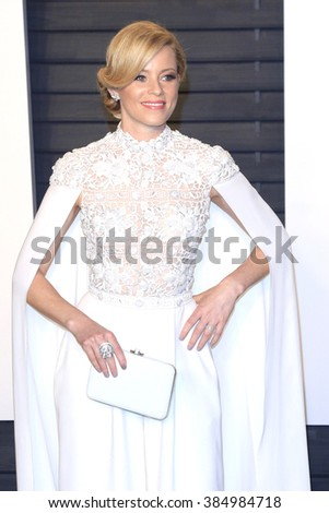BEVERLY HILLS - FEB 28: Elizabeth Banks at the 2016 Vanity Fair Oscar Party on February 28, 2016 in Beverly Hills, California - stock photo