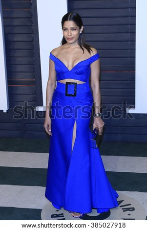 BEVERLY HILLS - FEB 28: Freida Pinto at the 2016 Vanity Fair Oscar Party on February 28, 2016 in Beverly Hills, California - stock photo