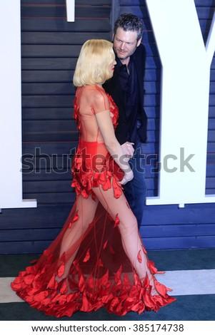 BEVERLY HILLS - FEB 28: Gwen Stefani, Blake Shelton at the 2016 Vanity Fair Oscar Party on February 28, 2016 in Beverly Hills, California - stock photo