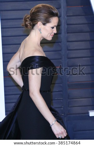 BEVERLY HILLS - FEB 28: Jennifer Garner at the 2016 Vanity Fair Oscar Party on February 28, 2016 in Beverly Hills, California - stock photo