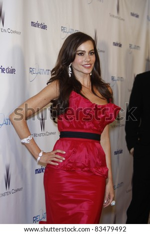 BEVERLY HILLS - JAN 16: Sofia Vergara at The Weinstein Company And Relativity Media's 2011 Golden Globe Awards Party in Beverly Hills, California on January 16, 2011
