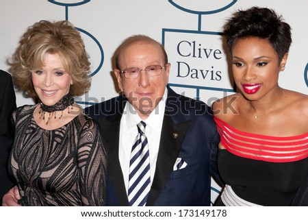 BEVERLY HILLS - JANUARY 25: Jane Fonda, Clive Davis, & Jennifer Hudson arrive at the Clive Davis & The Recording Academy annual Pre-GRAMMY Gala on Jan 25 2014 at the Beverly Hilton in Beverly Hills. - stock photo
