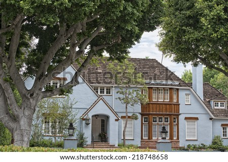 Beverly hills los angeles house building detail - stock photo
