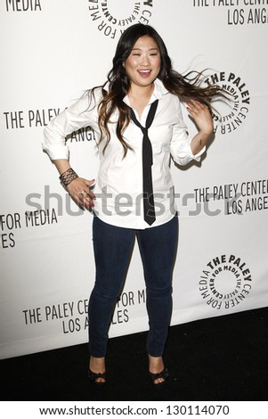 BEVERLY HILLS - MAR 16:  Jenna Ushkowitz arriving at the 2011 PaleyFest honoring 'Glee' held at the Saban Theater in Beverly Hills on March 16, 2010. - stock photo