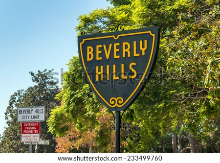 BEVERLY HILLS, US - OCT 21 2014: Beverly Hills sign in Los Angeles seen on October 21, 2014 in Beverly Hills, California USA. - stock photo