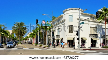 BEVERLY HILLS, US -  OCTOBER 16: Rodeo Drive on October 16, 2011 in Beverly Hills, US. There are more than 100 world-renowned boutiques in this area - stock photo