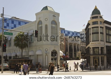 BEVERLY HILLS, USA - AUGUST 17 2013: Beverly Hills city centre in Rodeo drive road