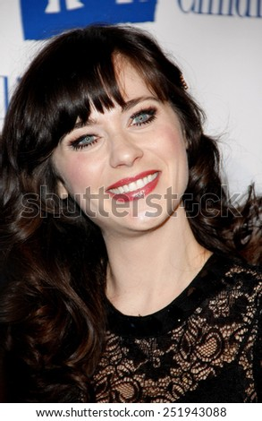 BEVERLY HILLS, USA - MARCH 1: Zooey Deschanel at the Alliance for Children's Rights Dinner Honoring Kevin Reilly held at the Beverly Hilton Hotel in Los Angeles, USA on March 1, 2012. - stock photo