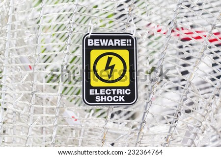 Beware Electric Shock  - stock photo