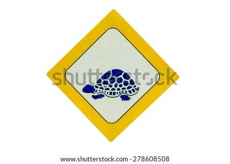 beware of tortoise sign - stock photo