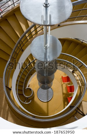 BEXHILL-ON-SEA, EAST SUSSEX/UK - JANUARY 11 : Staircase in the De La Warr Pavilion in Bexhill On Sea on January 11, 2009
