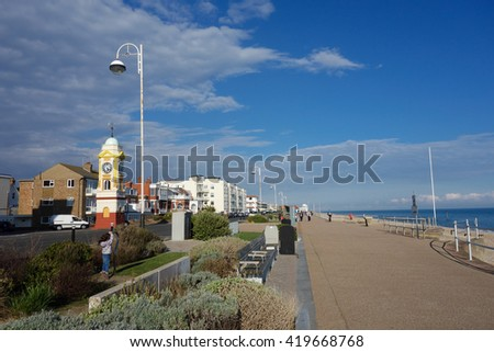 BEXHILL-ON-SEA, ENGLAND - APRIL 13. Bexhill on Sea seafront on April 13, 2016, East Sussex, England