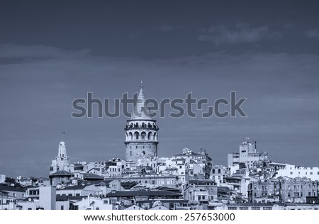 Beyoglu district with Galata Tower, Istanbul - Turkey. - stock photo
