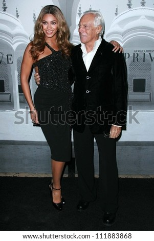 Beyonce Knowles and Giorgio Armani at the Giorgio Armani Prive Show to celebrate the Oscars. Green Acres, Los Angeles, CA. 02-24-07 - stock photo