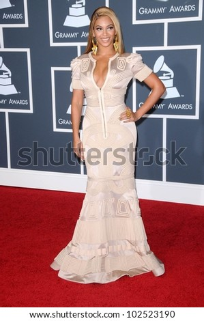 Beyonce Knowles  at the 52nd Annual Grammy Awards - Arrivals, Staples Center, Los Angeles, CA. 01-31-10 - stock photo