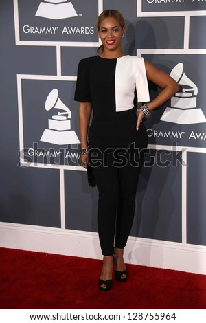Beyonce Knowles at the 55th Annual GRAMMY Awards, Staples Center, Los Angeles, CA 02-10-13 - stock photo