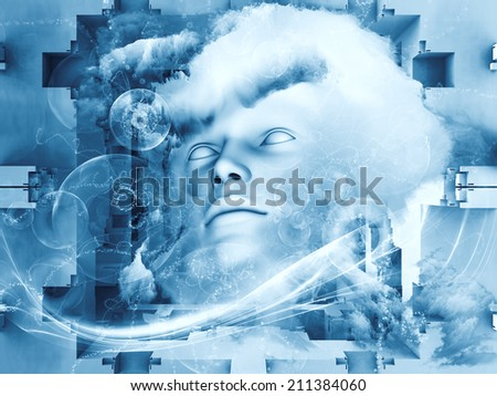 Beyond Human series. Abstract design made of human, fractal and natural forms on the subject of inner reality, mental health, imagination, thinking and dreaming - stock photo