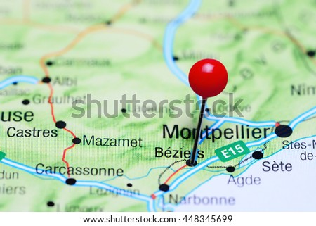 Beziers Pinned On Map France Stock Photo 448345699 Shutterstock