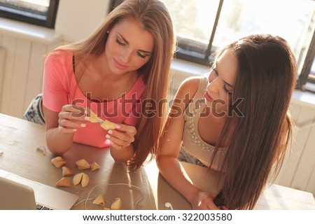 BFF. Two cute girls at home - stock photo