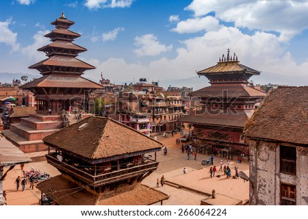 Bhaktapur is UNESCO World Heritage site located in the Kathmandu Valley, Nepal. - stock photo