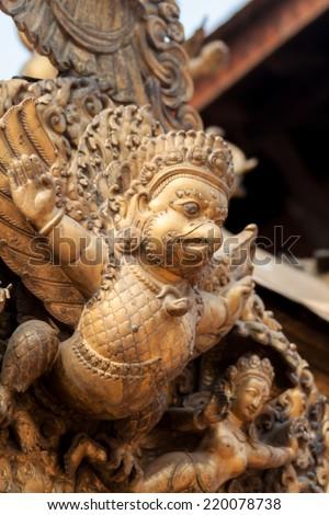 Statue of garuda the half man half bird carrier of the hindu god
