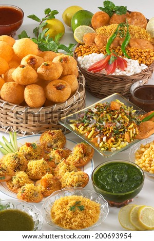 Bhelpuri, Pani puri, Sev puri, Dahi batata puri, Chat items , India - stock photo