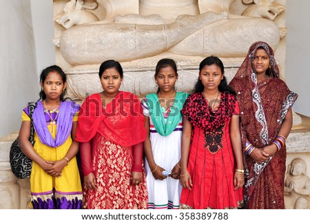BHUBANESWAR, INDIA - DECEMBER 31: group of girls visit Shanti Stupa, Dhauligiri on December 31, 2013 in Bhubaneswar.