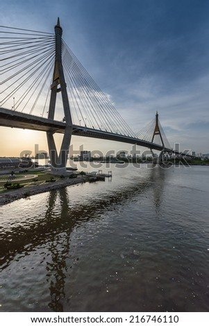 Bhumibol Bridge - stock photo