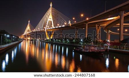 Bhumibol Bridge across the Chao Phraya River in Bangkok, Thailand - stock photo