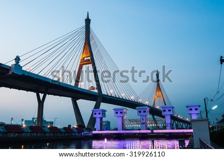 Bhumibol bridge at evening, Bangkok Thailand