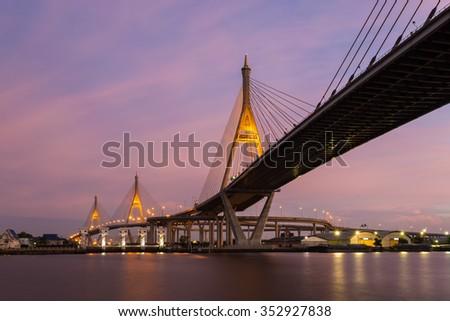 Bhumibol Bridge during twilight time , Bangkok, Thailand - stock photo