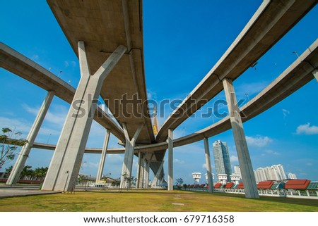Bhumibol Bridge, expressway,The curve of bridge with blue sky in bangkok