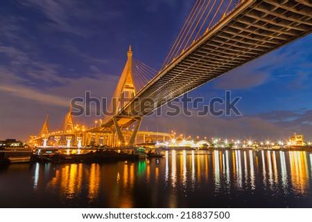Bhumibol Bridge in Bangkok, Thailand  - stock photo