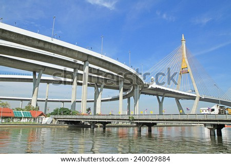 Bhumibol Bridge in Thailand - stock photo