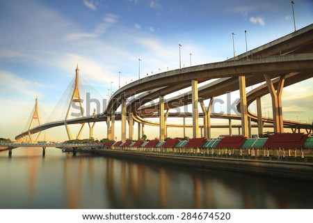 Bhumibol Bridge in Thailand, also known as the Industrial Ring Road Bridge, in Thailand. The bridge crosses the Chao Phraya River twice in the blue sky - stock photo