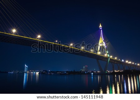 Bhumibol bridge (Industrial Ring bridge, across Choa Phraya river) - stock photo
