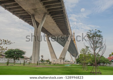 "Bhumibol Bridge or Bridge of Industrial Rings is concrete highway overpass and cross the Chao Phraya River, Thailand. Foreign text on the bridge is the name ""Bhumibol 1 and 2""."