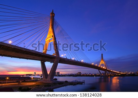 Bhumibol Bridge (The Industrial Ring Road Bridge) in Bangkok, Thailand