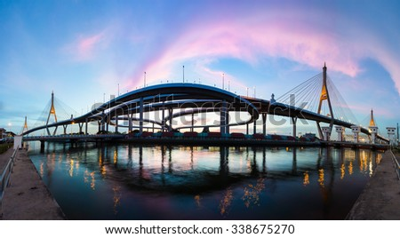 Bhumibol Bridge with natural light during twilight time , Bangkok, Thailand - stock photo