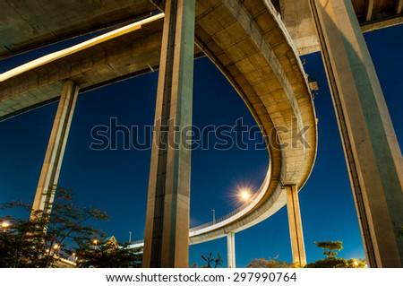 Bhumibol highway Bridge Twilight under view. - stock photo
