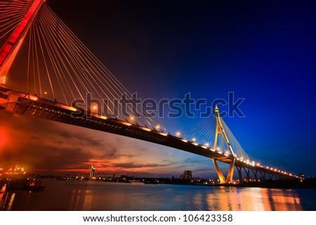 Bhumiphol Bridge in Bangkok of Thailand - stock photo