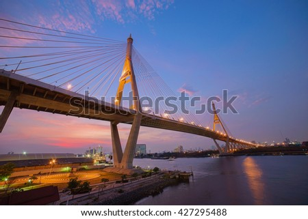 Bhumipol Bridge in twilight