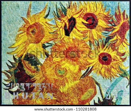 BHUTAN - CIRCA 1980: A stamp printed in Bhutan shows Vase with Twelve Sunflowers (detail) by Vincent Van Gogh, circa 1980 - stock photo
