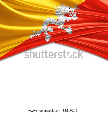 Bhutan flag of silk with copyspace for your text or images and white background