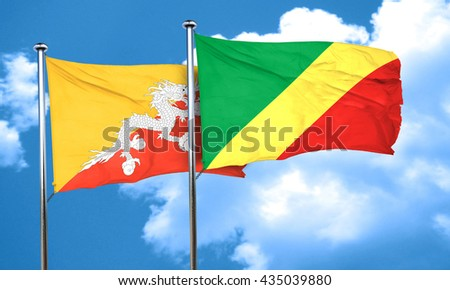 Bhutan flag with congo flag, 3D rendering